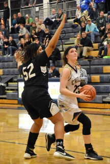 Senior NIcole Bareis drives the lane