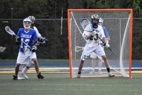"Senior netminder Josh ""Vinnie"" Ciaccio stands tall in goal for the shutout"