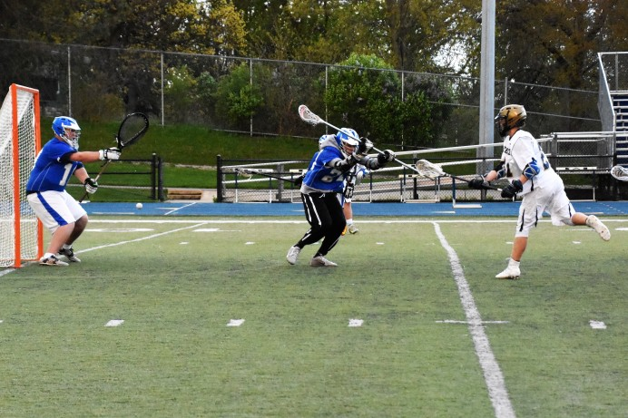 Cam Breining sends a rocket towards the net