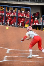 Alex Bayne lays down a perfect bunt