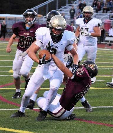 Hunter Neff fights for yardage