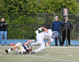 Owen brings down a Lincoln runner stopping a 2 point conversion
