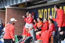 The bench celebrates a Buckeye goal