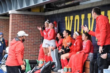 The bench celebrates a Buckeye goal